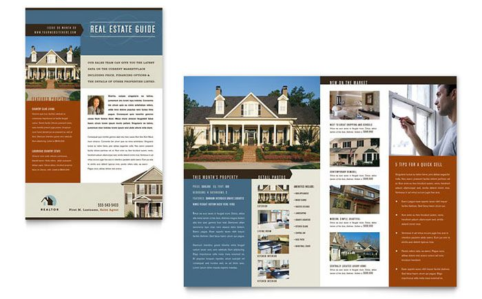 Residential Realtor Newsletter Template Design By StockLayouts