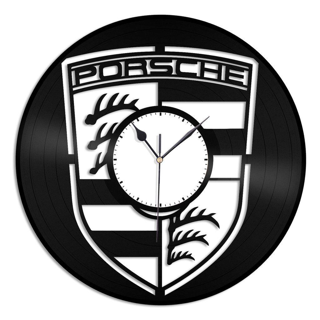 Porsche Emblem Vinyl Wall Clock Vinylshop Us Wall Clock Clock Car Clock