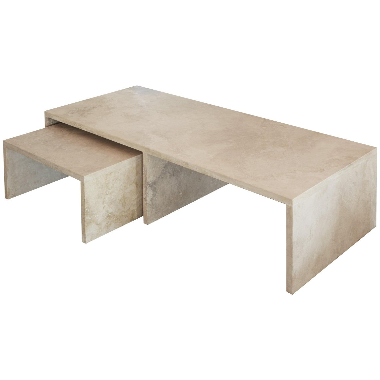 Best Pure Minimalist Travertine Nesting Coffee Tables By Amee 400 x 300