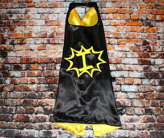 Black and Yellow Superhero Cape, Boys Superhero Cape, Superhero Gift, Birthday Cape, Bat Party Wear, Kids Dress Up, Superhero Costume #superherogifts