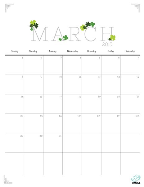 Download iMOM\u0027s Free March 2015 printable calendar This month