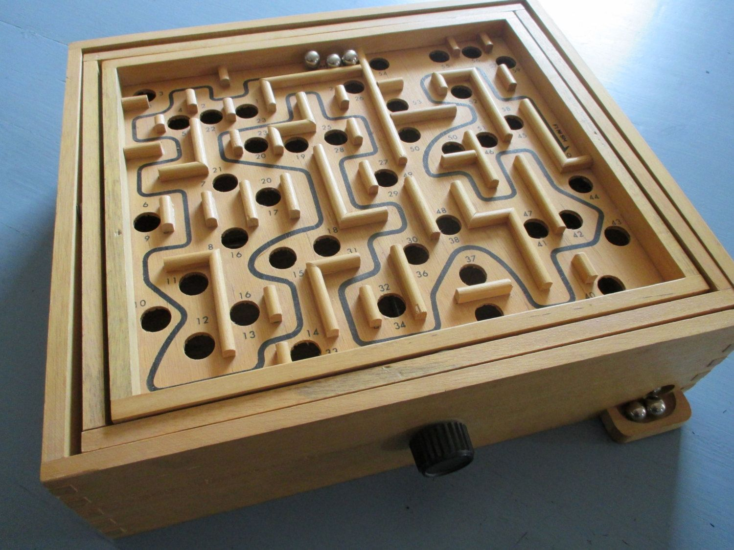 Vintage Labyrinth Game Wood Large Maze Game Retro Toy