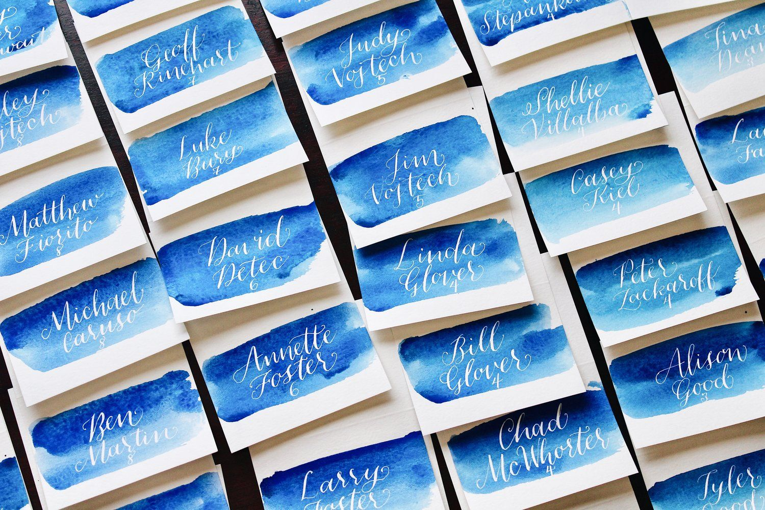 Escort Richmond Va >> Blue Water Color Wash Escort Cards With White Calligraphy