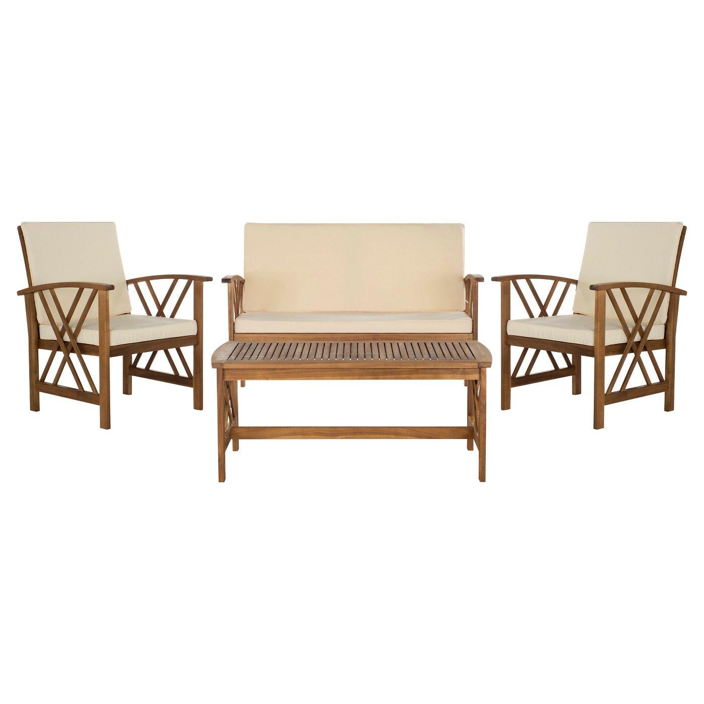 Superb Mykonos 4 Pc Wood Patio Conversation Furniture Set Brown Unemploymentrelief Wooden Chair Designs For Living Room Unemploymentrelieforg