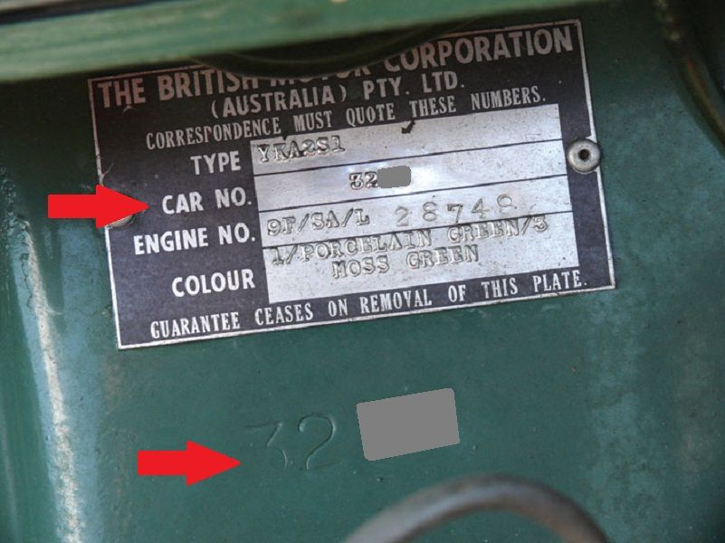 Australian MK1 Morris Cooper S Body number   Australian MK1 Morris ...