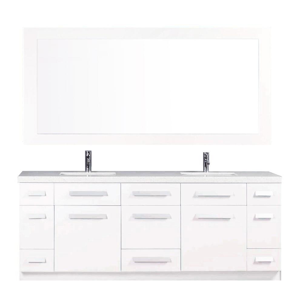 Design Element Moscony 84 In W X 22 In D Double Vanity In White