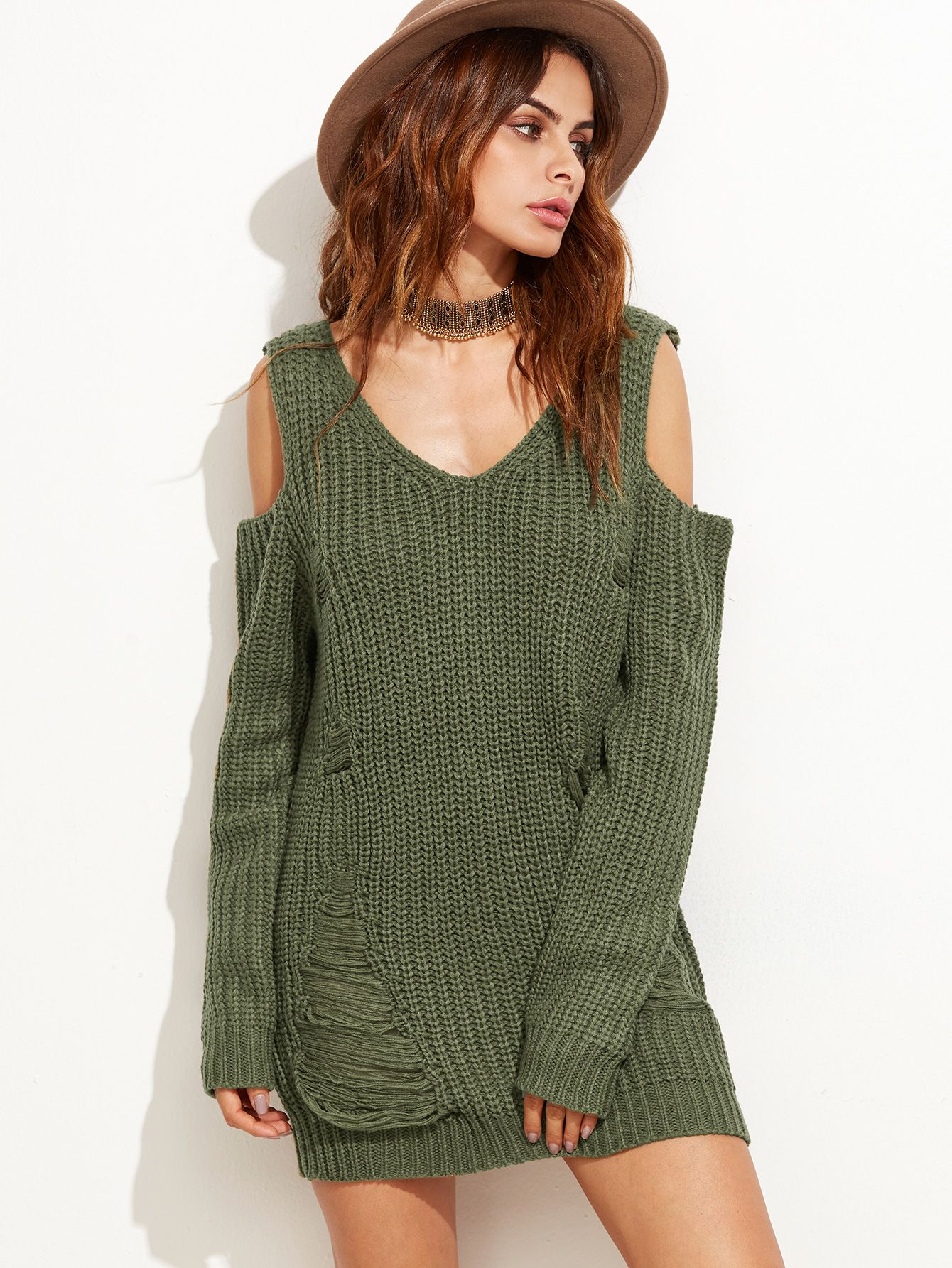 53ff09aece Shop Olive Green Cold Shoulder Ripped Sweater Dress online. SheIn ...