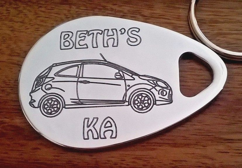Personalised FORD KA keyring ANY NAME engraved aluminium custom made gift