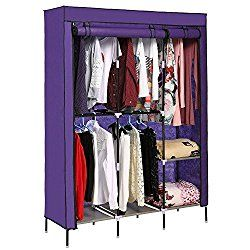 New Portable Baby Clothes Closet Armoire Wardrobe Double Rod Closet Storage  Cubes Organizer Cabinet (VIOLET