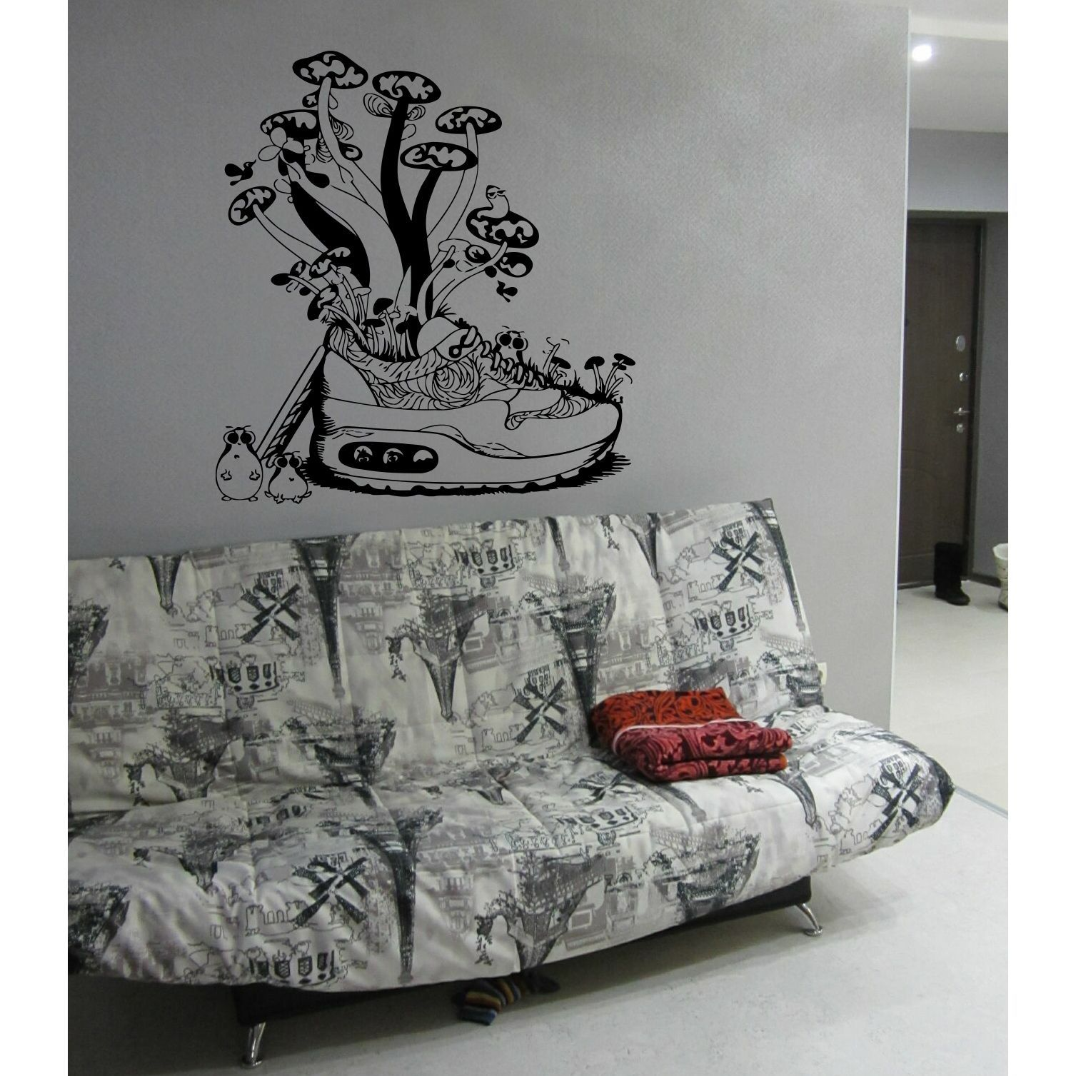 Childrenus cartoon shoes mushrooms wall art sticker decal products