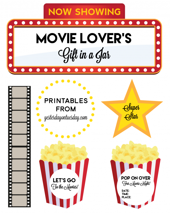 Movie Lovers Gift In A Jar With Printable Labels Tags And More