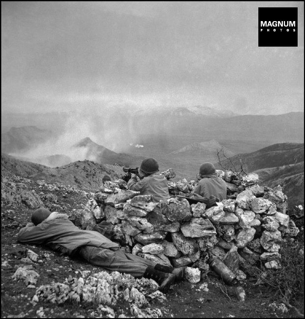Outside Radicosa, near Cassino. January 4th, 1944. The US/Canadian First Special Service Force (a unit trained in mountain fighting), in action against German forces//Robert Capa