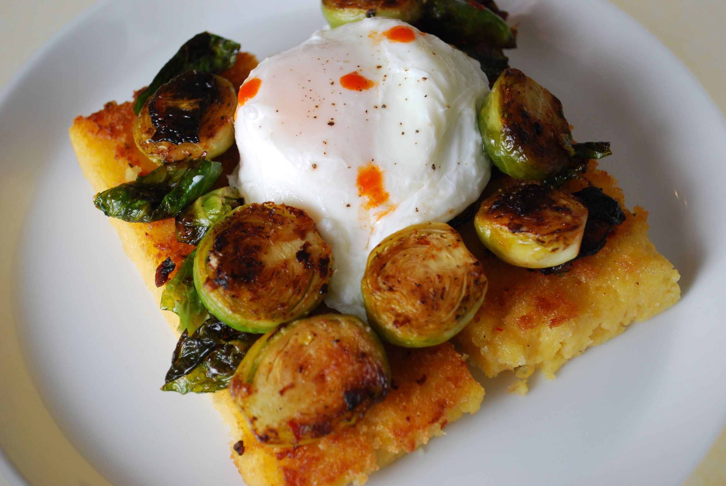 Pan Fried Maple Goat Cheese Polenta with Chipotle Brussels Sprouts