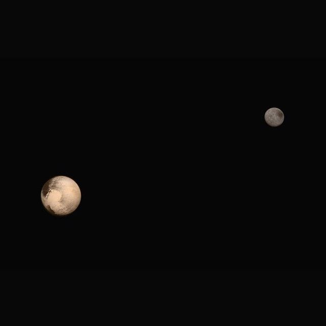 Portrait of Pluto and its largest moon! The latest two full-frame images of the dwarf planet and its moon were collected separately by New Horizons during approach on July 13 and July 14 2015. The relative reflectivity size separation and orientations of Pluto and Charon are approximated in this composite image and they are shown in approximate true color.  Image Credit: NASA/JHUAPL/SWRI  #nasa #pluto #plutoflyby #newhorizons#solarsystem #charon #moon #nasabeyond #science by nasa