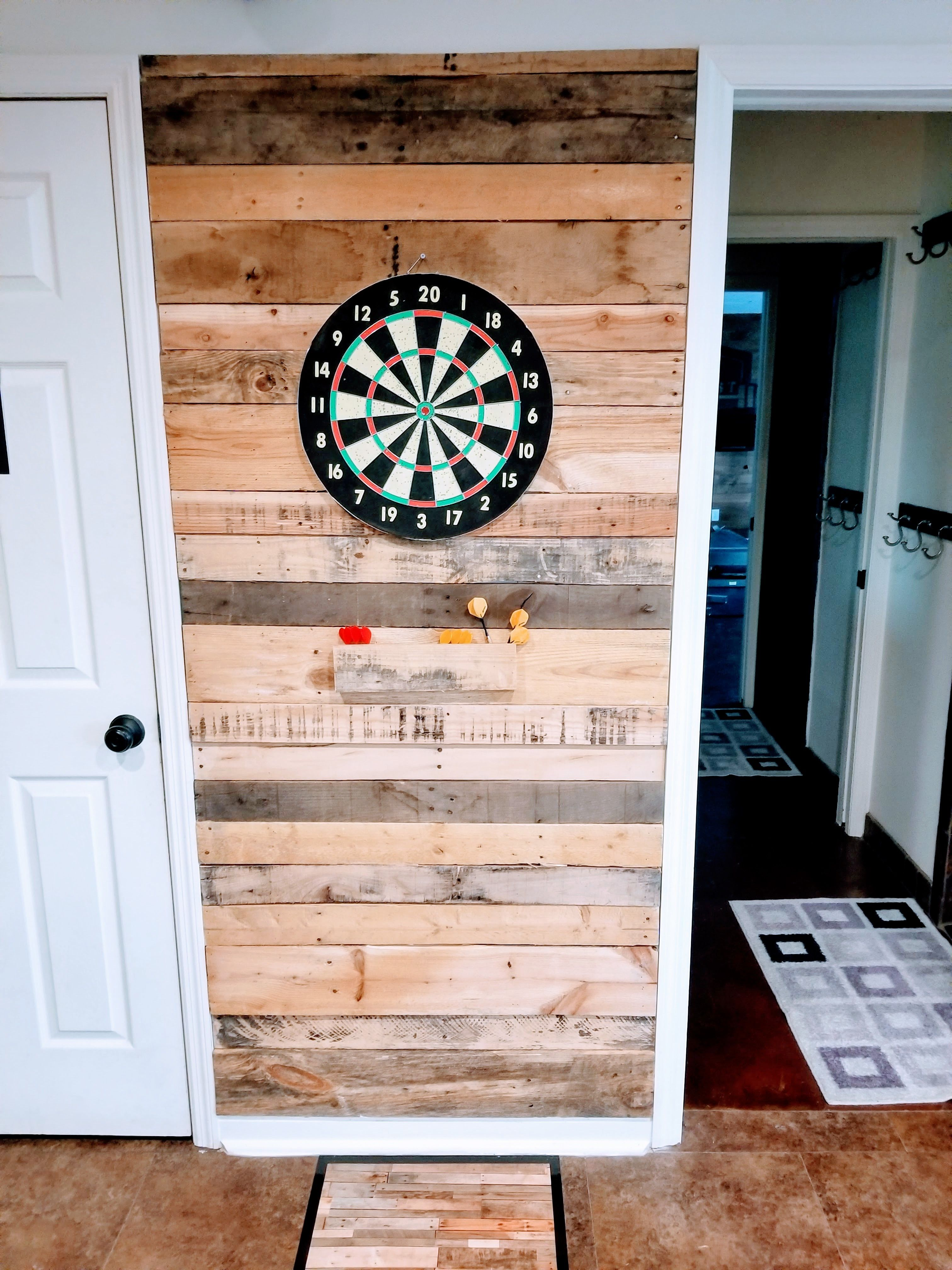 Basement Game Room Designs: Fun Pallet, Dart Board Wall. Man Cave Decor.