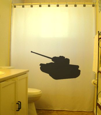 This Unique Army War Tank Shower Curtain Is Available For Purchase Now Color White