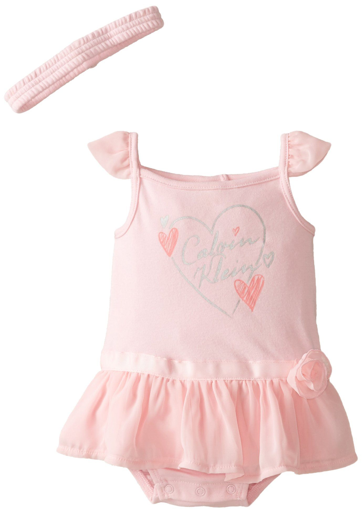 Calvin Klein Baby Girls Newborn Sunsuit and Headband Pink 0 3