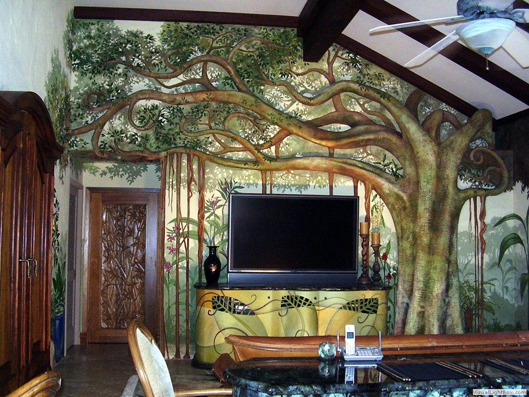Tree Mural 3 D Jpg 1066 800 Tree Mural Painting Wallpaper Mural