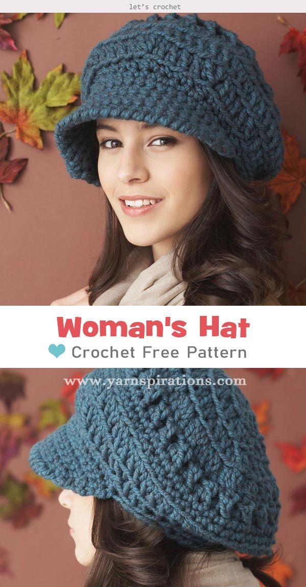 Bernat Slouchy Peaked Hat Free Crochet Pattern