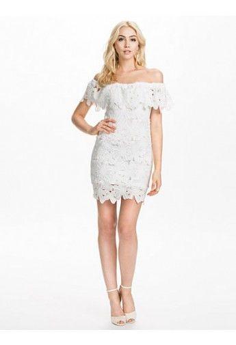 Prettiest Off-shoulder Crochet White Dress
