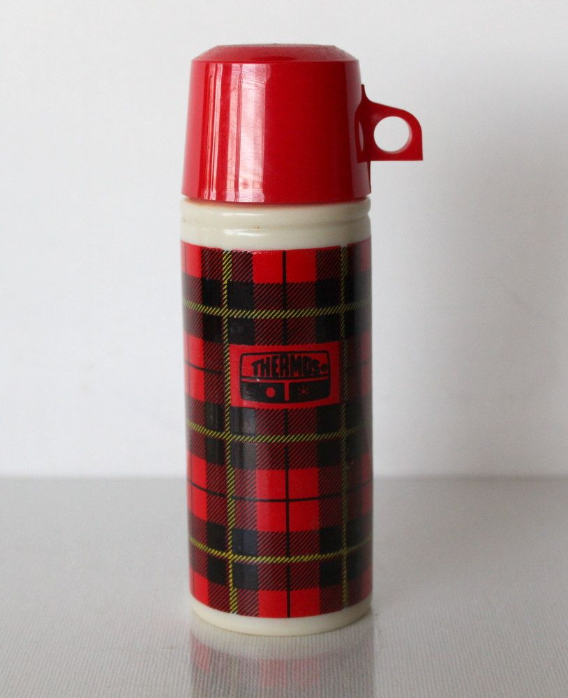 Country Kitchen Zephyrhills: 1970s Red Black Yellow Plaid Avon Thermos Cologne Bottle