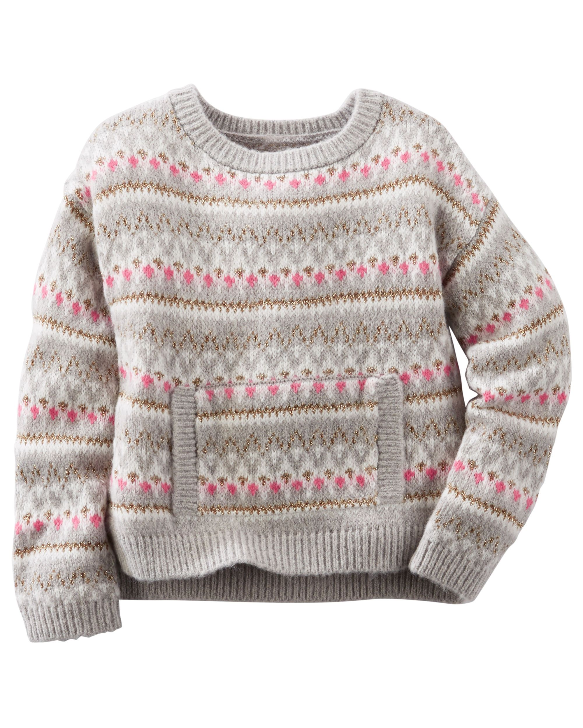a528a47e3 Toddler Girl SPARKLE FAIR ISLE SWEATER