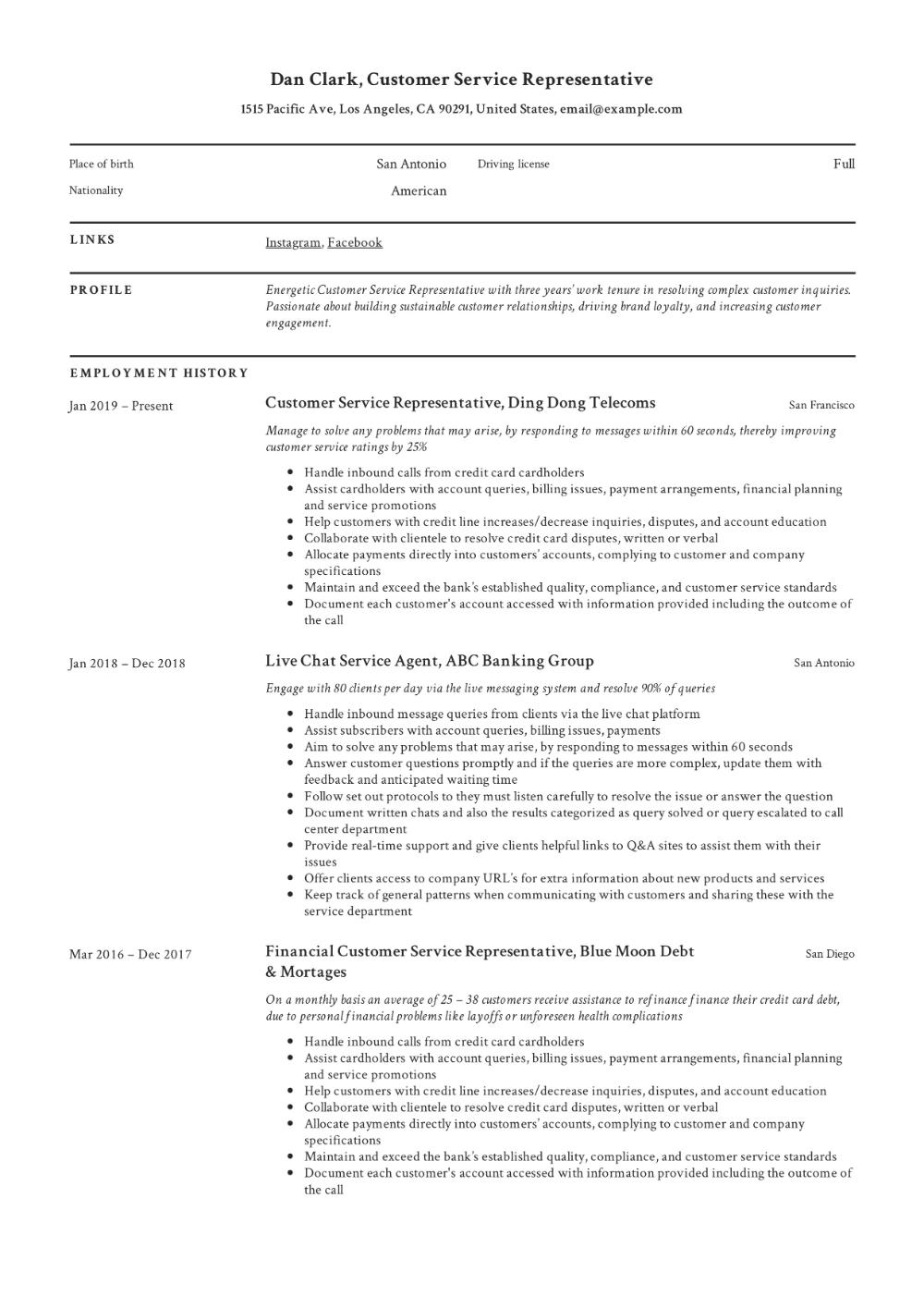 How to Customer Service Representative Resume & + 12 PDF