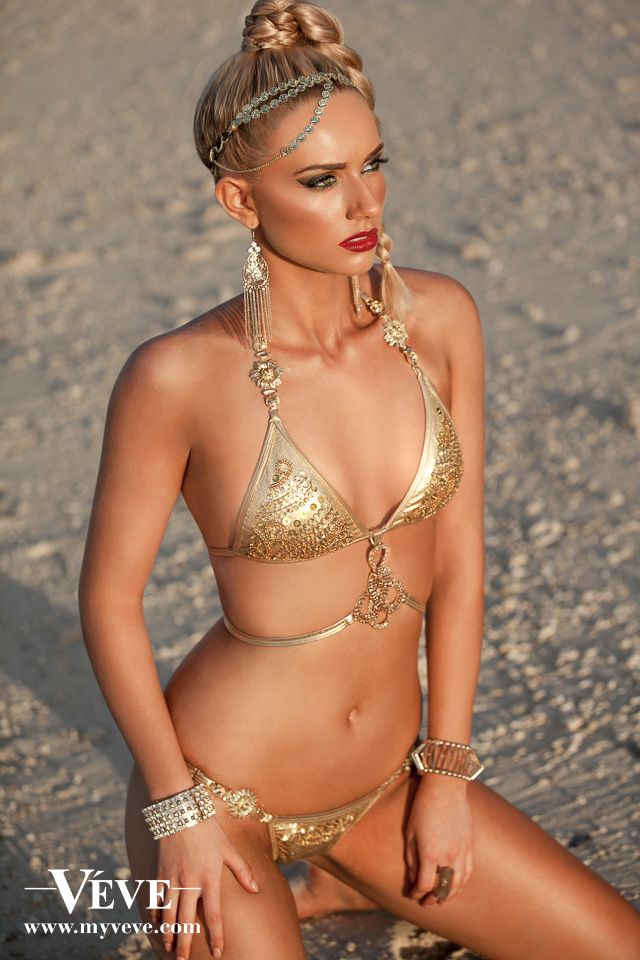 1837a81a09 Egyptian Queen gold bikini from Veve Swimwear's GLAMAZON collection at  www.myveve.com Maillots