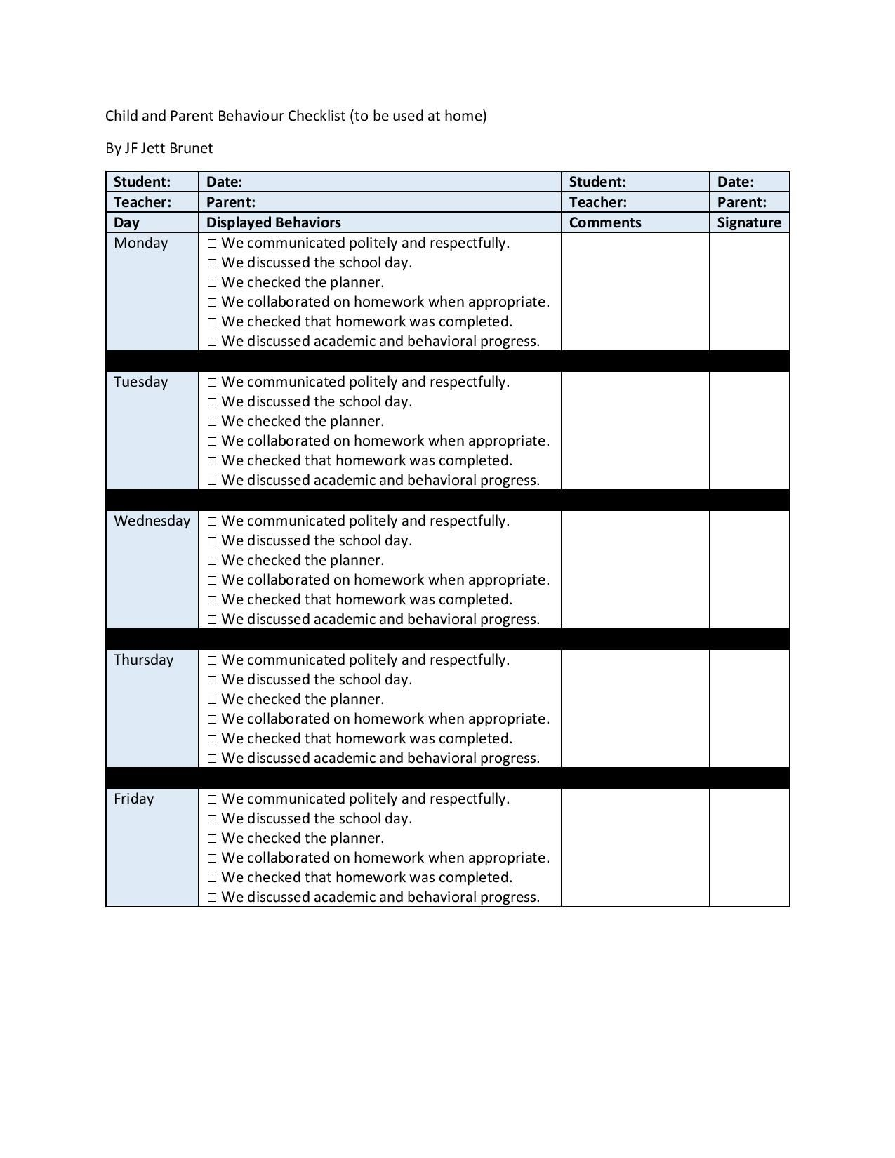 child and parent behaviour checklist by jf jett brunet behavior