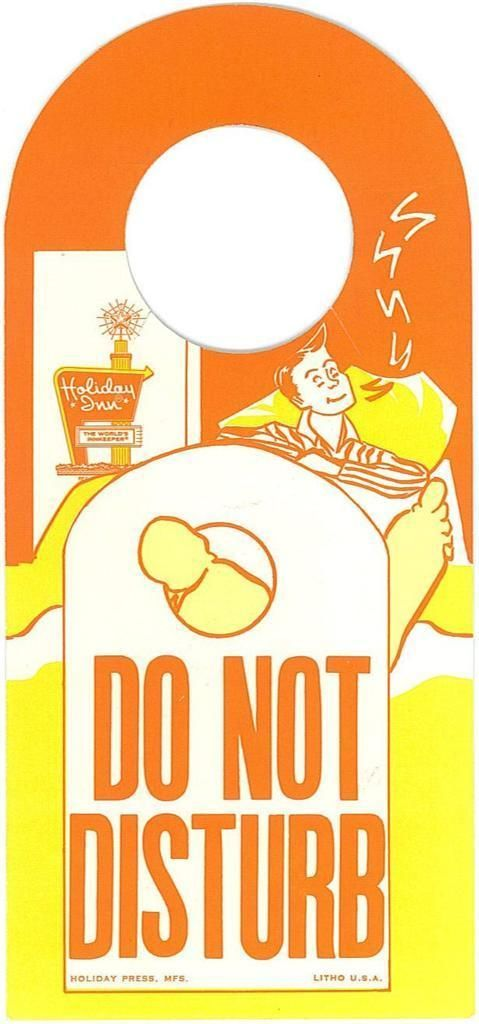 Vintage Holiday Inn Paper Do Not Disturb Maid Service
