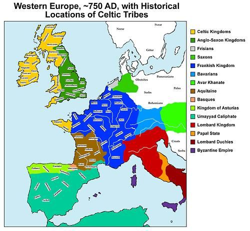 Historical Locations Of Celtic Tribes In Western Europe In 750 Ad
