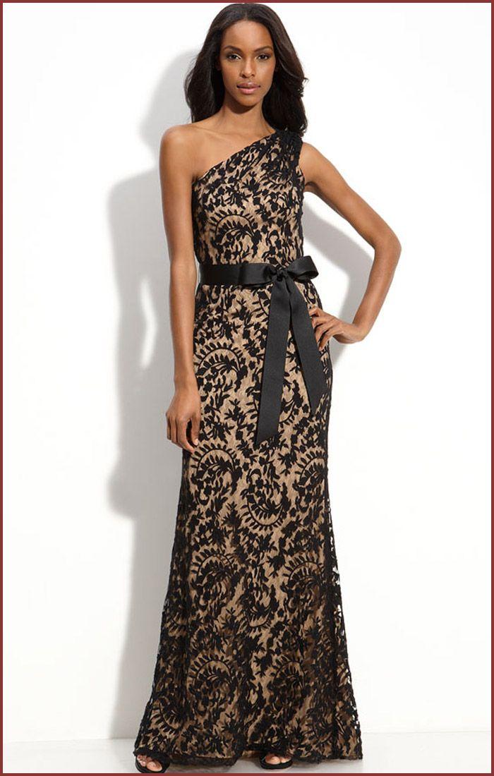black clothing for women | Tadashi Shoji One Shoulder Long Lace ...