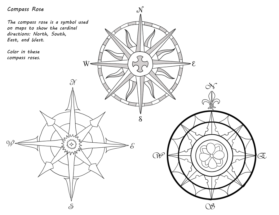 American Girl Kirsten Pioneer America Unit Study Rose Coloring Pages Compass Rose Coloring Pages