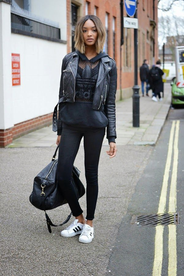sports shoes 61697 ce118 The Front Row View  Model Street Style  Jourdan Dunn s Sports Luxe Look   streetstyle  street  style