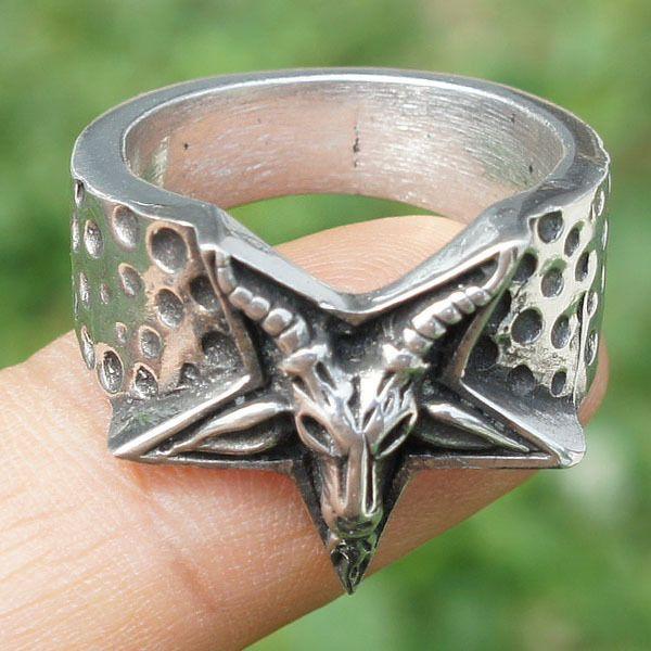Details about Men Stainless Steel Ring Pentagram Star Satan Baphomet