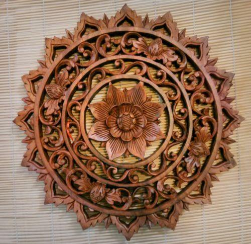 Details about bali carved lotus flower round wood panel spiritual