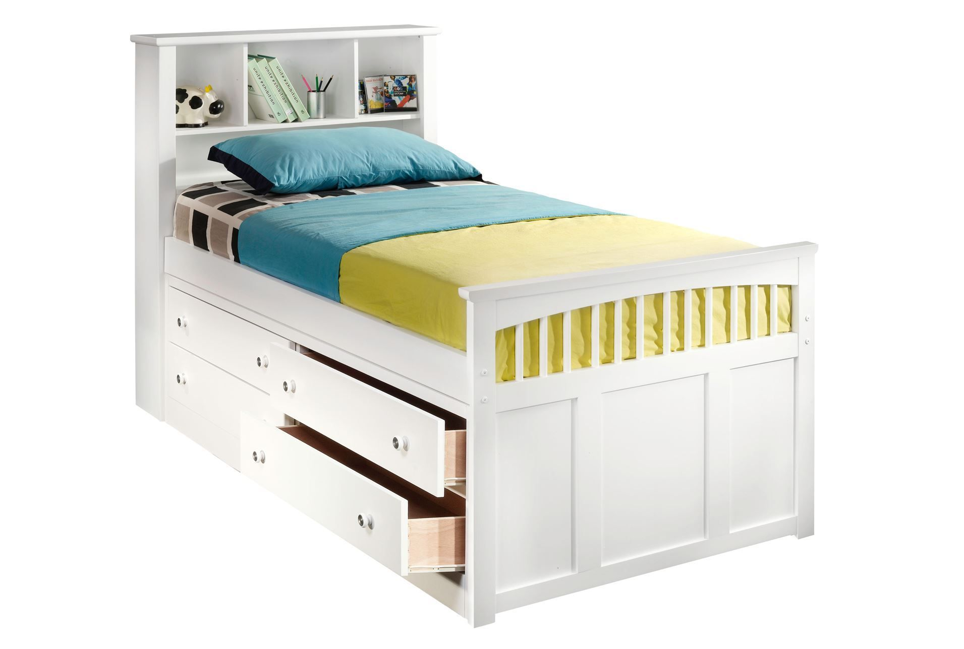 bayfront twin captains bed wsingle 4drawer unit