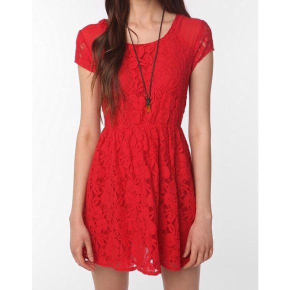 """Urban Outfitters Red Lace Sheath Dress Revel Sz M ▪️ Coincidence & Chance from Urban Outfitters  ▫️ Cap sleeve, lace """"Revel"""" dress with elastic front waist.   ▪️ Size Medium  ▫️ 90% Cotton        10% Nylon  ▪️ Excellent used condition!  ▫️ Bust - 17.5"""" across the front, lying flat.   ▪️ Length - 32.5 from shoulder to hem.   ▫️ Red  ✳️ Bundle to Save 20%!  ❌ No Trades, Holds, PP   100% Authentic!    Suggested User // 700+ Sales // Fast Shipper // Best in Gifts Party Host!  Urban Outfitters…"""