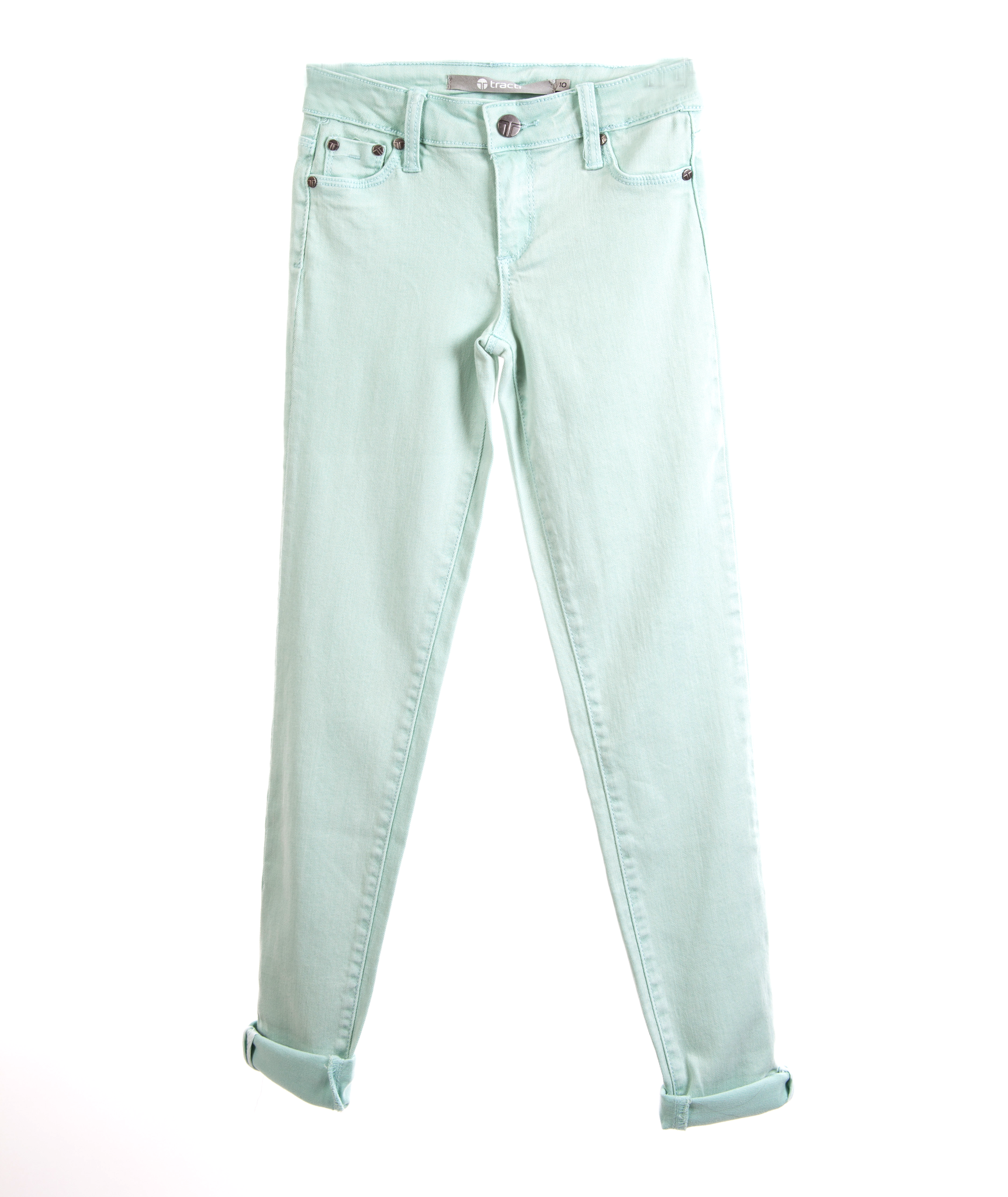 Tractr Girls Mint Green Ankle Crop Jeans