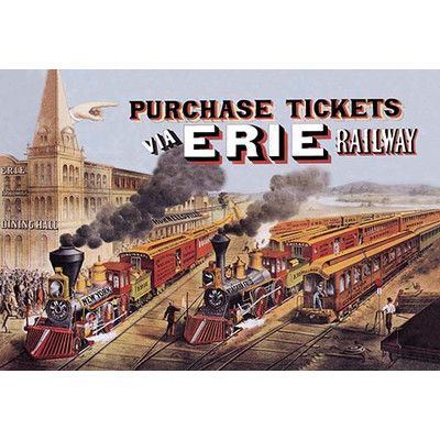 Buyenlarge 'Purchase Tickets via Erie Railway' by Currier & Ives Vintage Advertisement