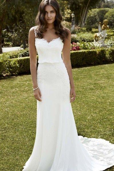 Beautiful Sheath/Column Spaghetti Straps Court Train Chiffon Fabric Designer Wedding Dresses with Appliques Style yw615112402