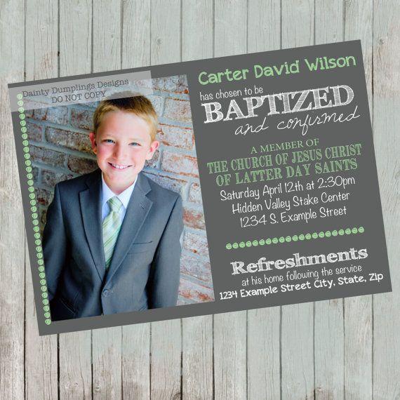 Baptism Announcement - LDS - 1 to 3 photos Baptism announcement