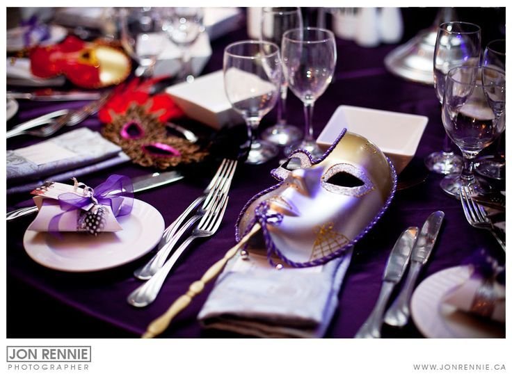 Table Decorations For Masquerade Ball Setting Mask At Every Seat Wnapkin For Table Decor In Our Colors