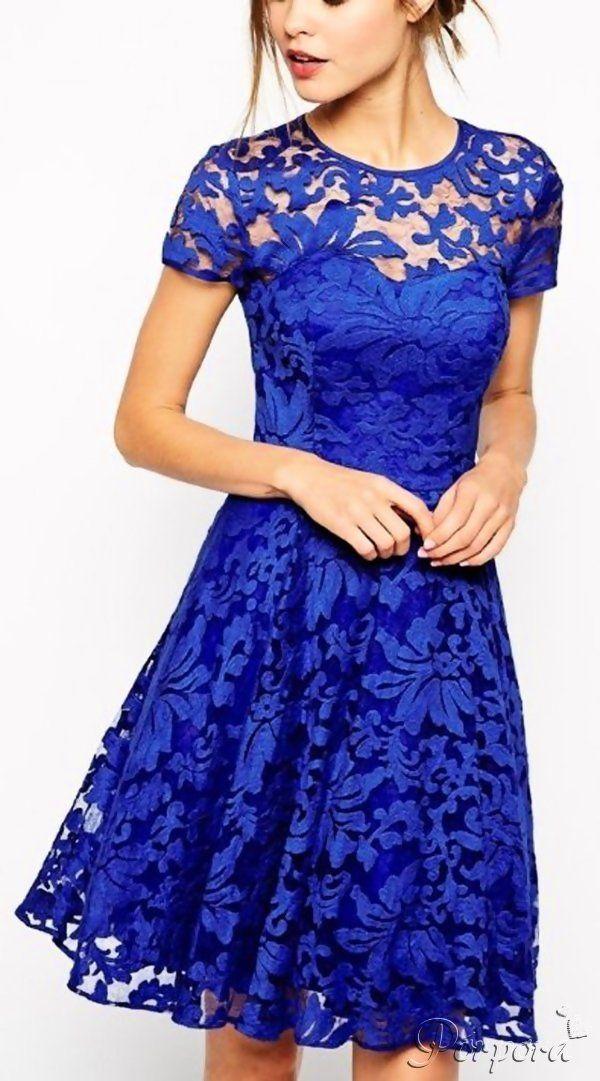 Vestido corto azul encaje floral detalle transparencia pecho: http ...