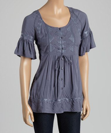 Look at this #zulilyfind! Perry Blue Geometric V-Neck Top by MONORENO by Mür #zulilyfinds