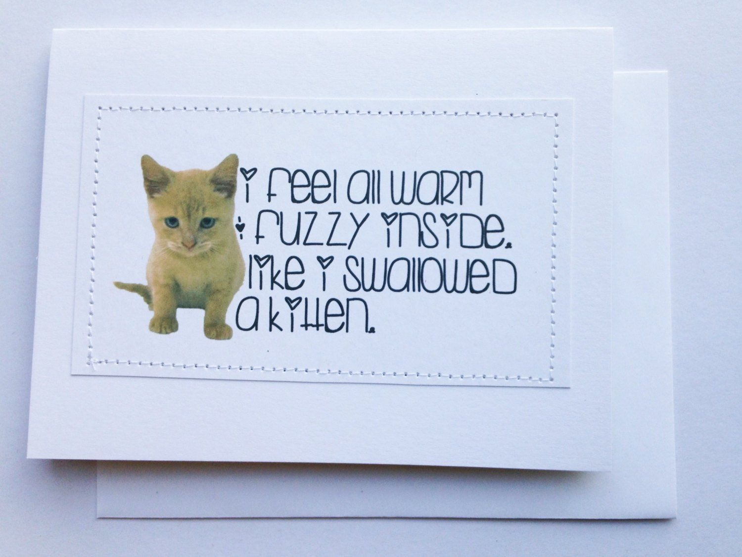 Funny Kitty Cat Card I Feel All Warm And Fuzzy Inside Like I Etsy Cat Cards Funny Cats Cards