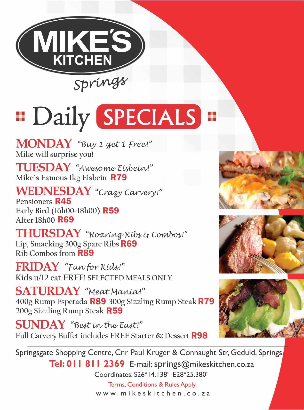 Mike S Kitchen Springs Specials