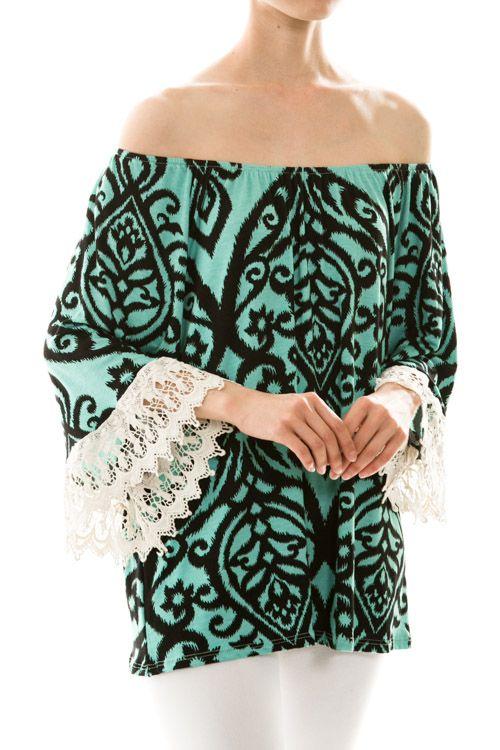 Jade and Black Lace Sleeve Top - #blondellamydean #plussizefashion #plussize #curves
