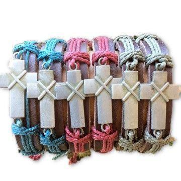 Leather Boxed Cross Bracelets