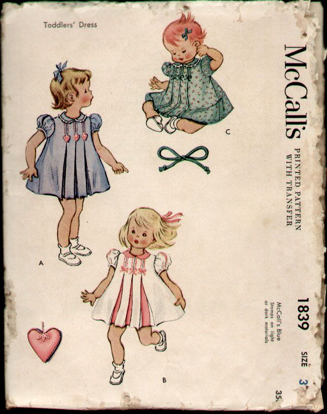 McCalls 1839 Vintage 1950s Toddler Girls Pleated Dress Pattern Sz 3 ...